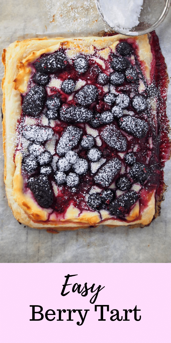 Berries, cream cheese and puff pastry, this Easy Berry Tart is fuss-free and simple. Dessert is warm and fresh, served in no time. #berries #puffpastry #easydesserts