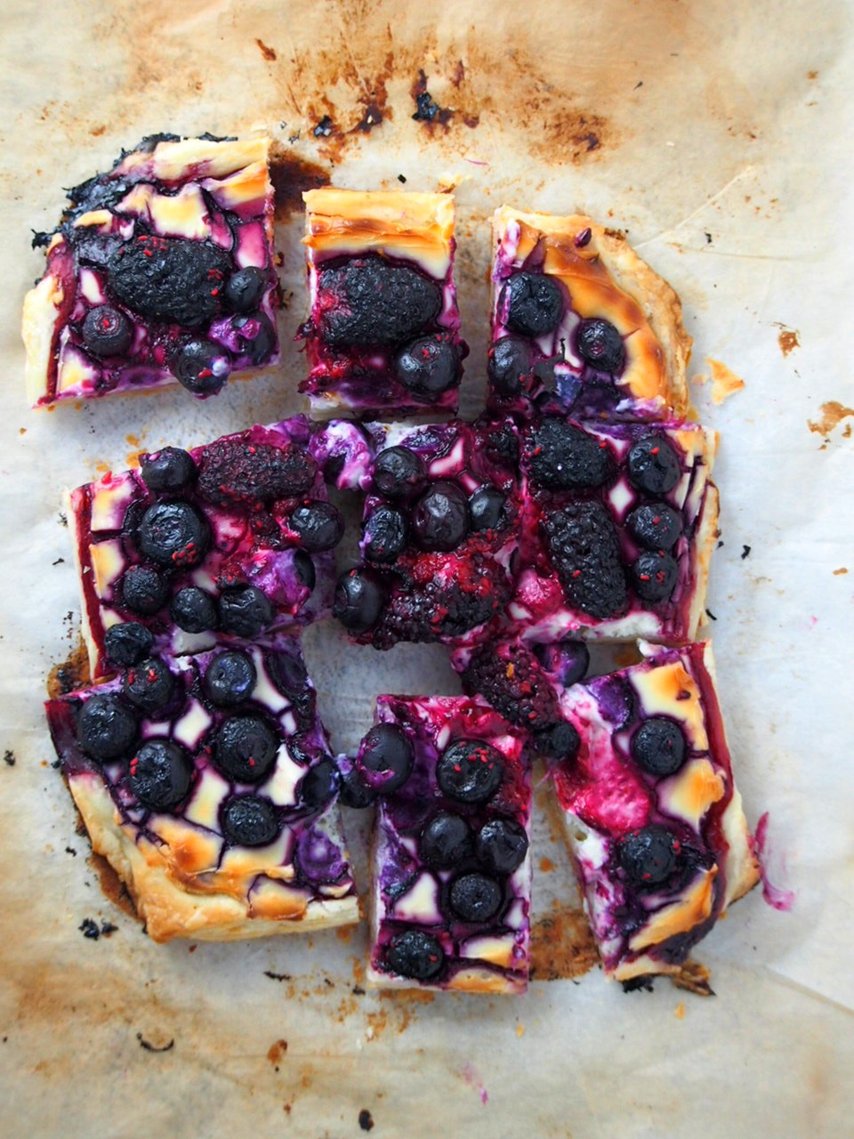 Berry Tart cut into serving pieces.