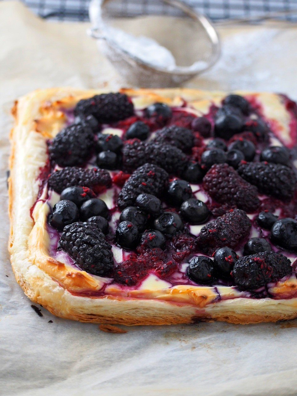 Closer view of the berry tart.