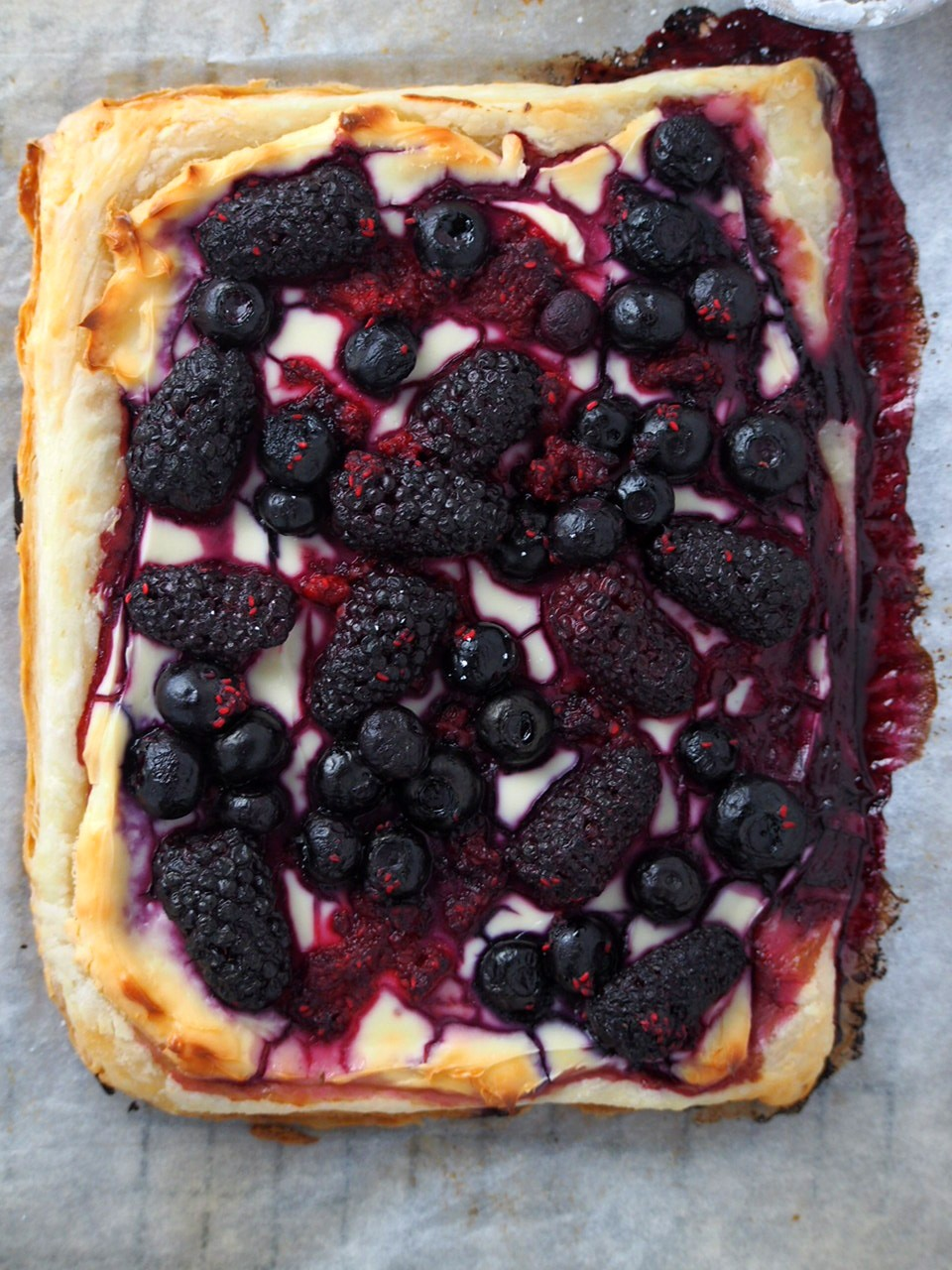 The berry tart fresh from the oven.
