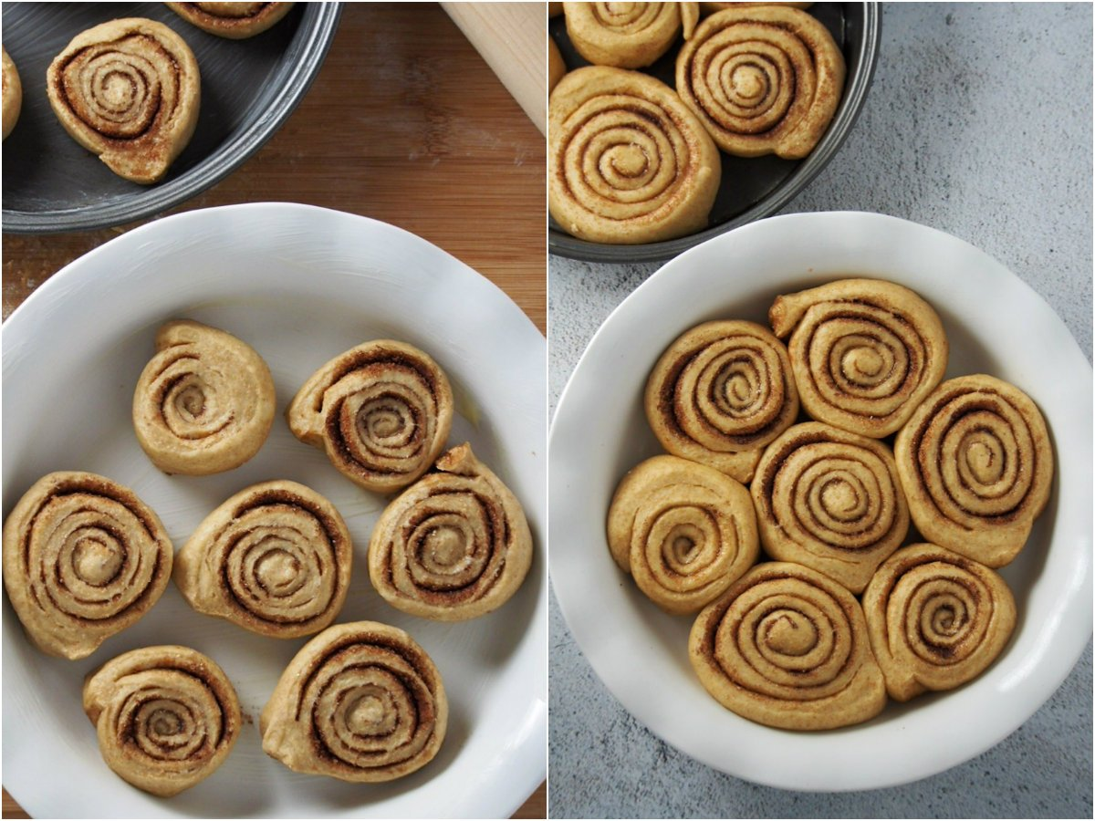 The shaped cinnamon rolls before and after the second rise.