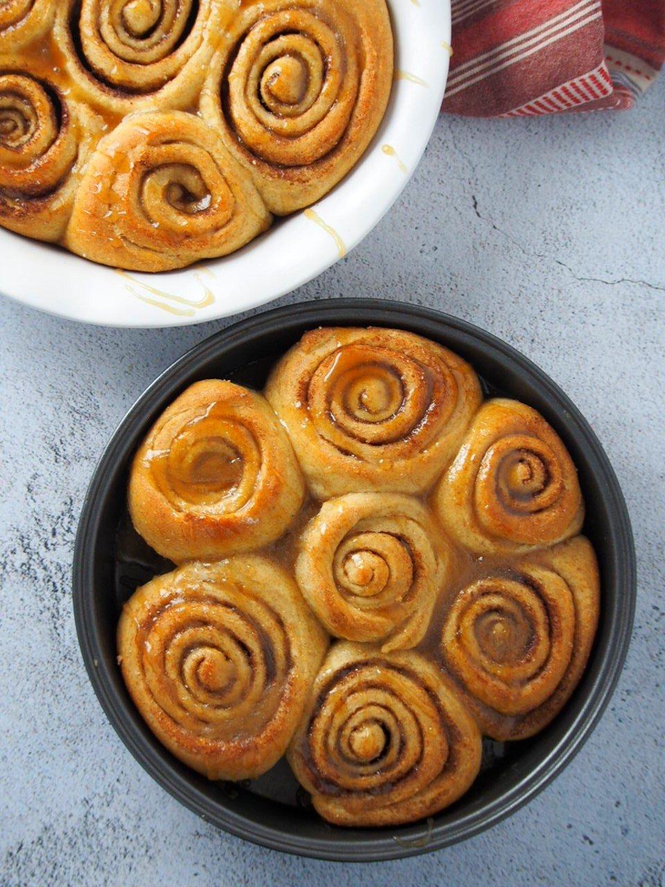 Cinnamon Rolls with caramel glaze freshly baked.