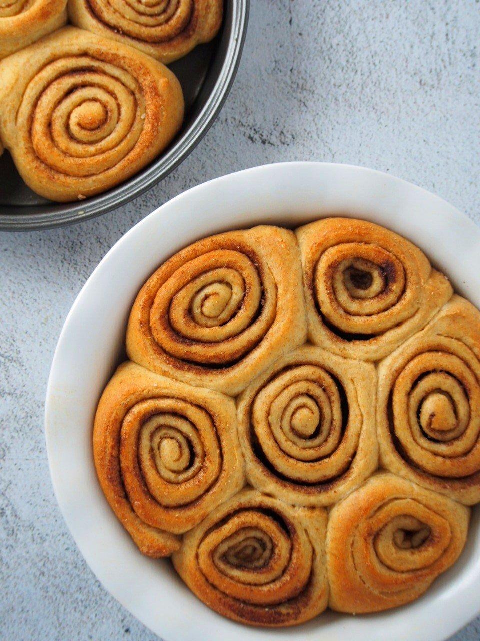 Freshly baked Whole wheat cinnamon rolls ready for the caramel glaze.