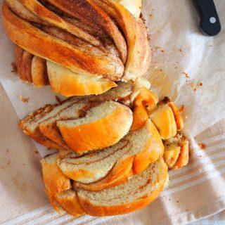 Cinnamon Roll Bread Loaf cut into slices.