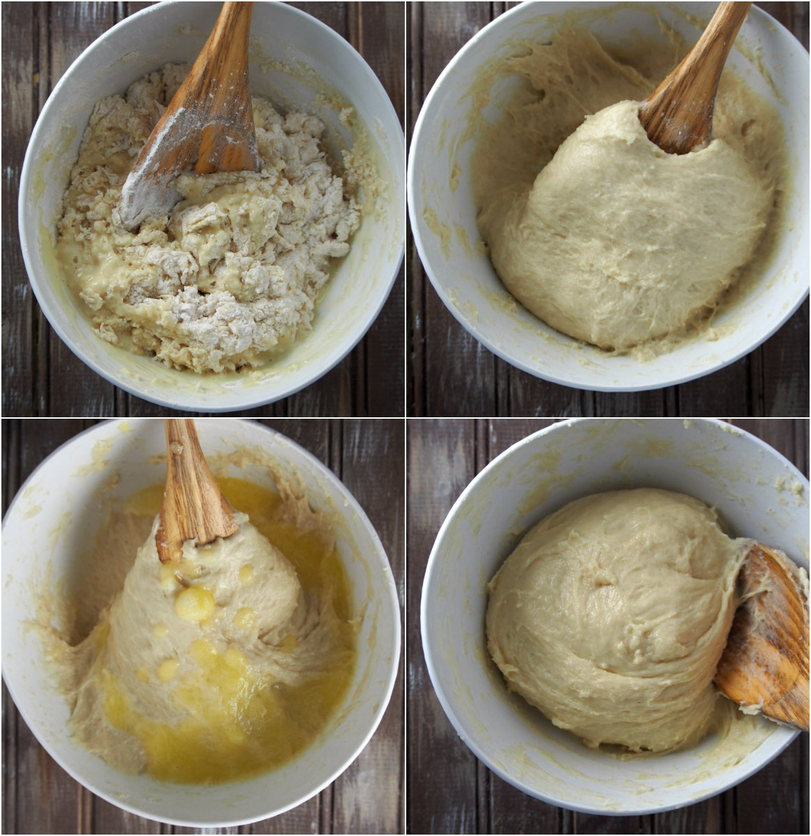 The process of mixing the dough for Mini Double Chocolate Buns.