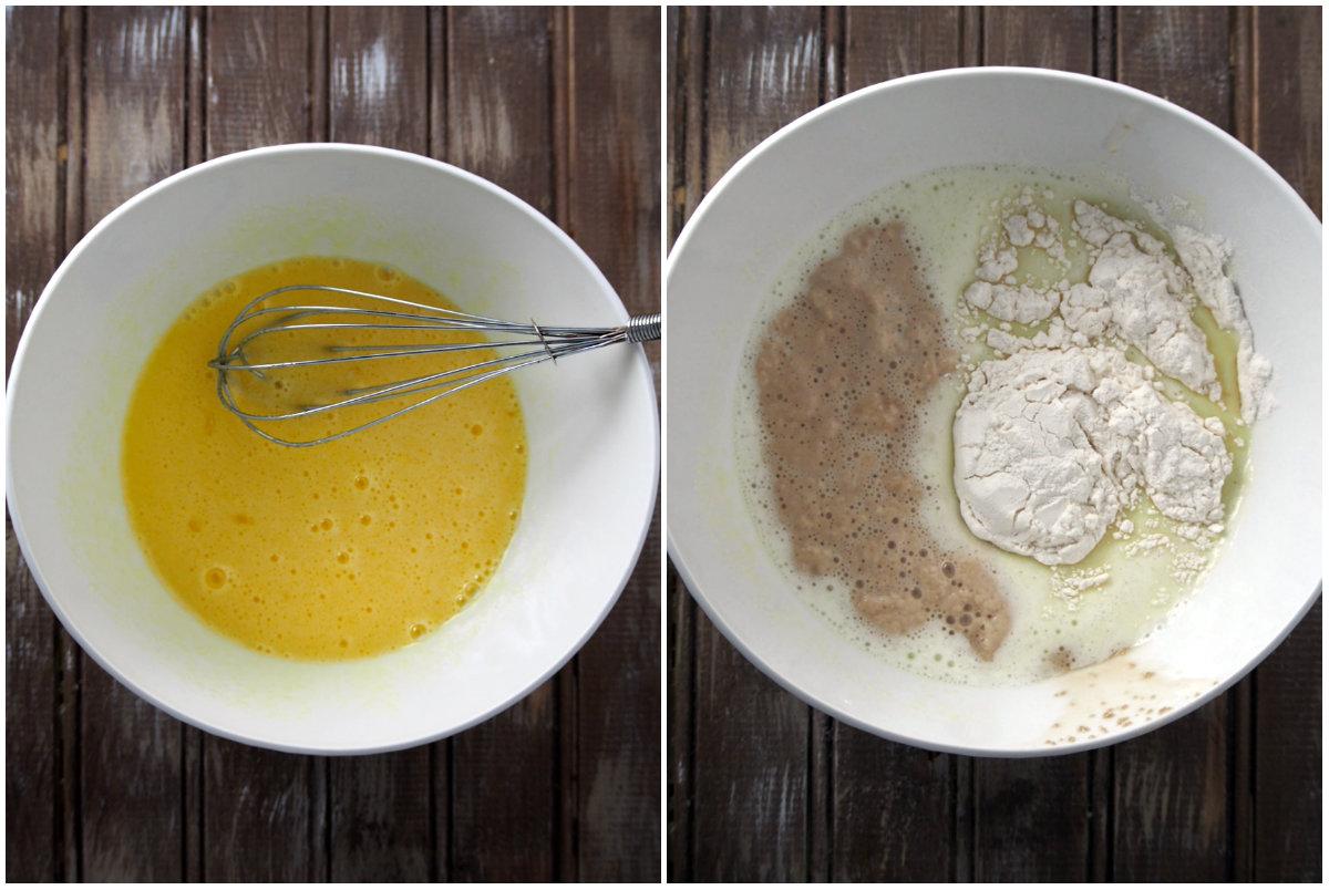Making the dough of mini double chocolate buns.