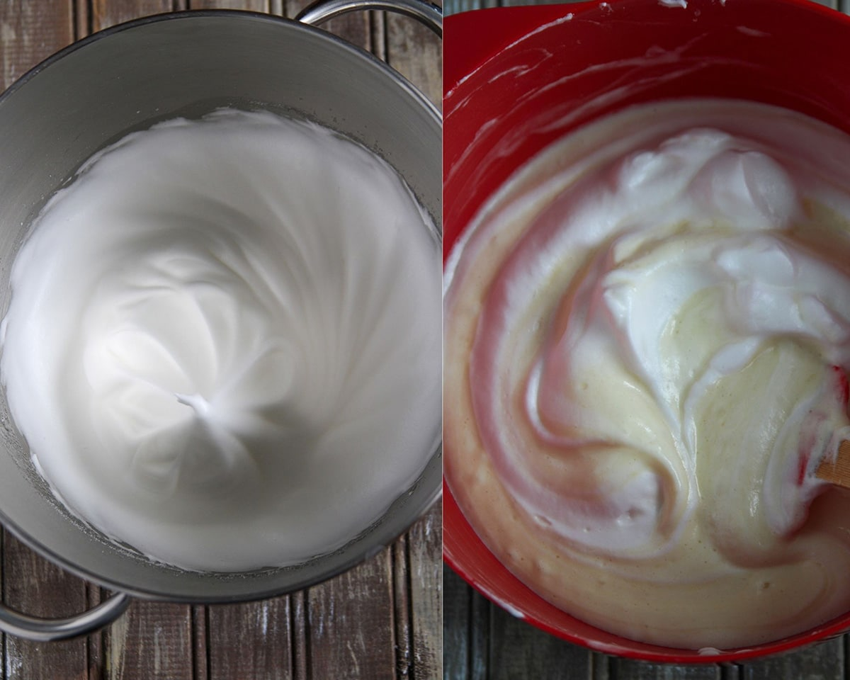 A collage showing the whipped egg whites o n the left, and the process of folding it into the yolk batter on the right.