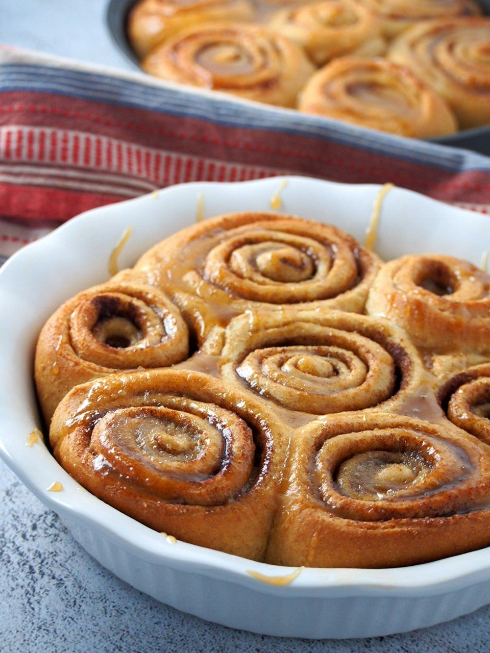 Close up shot of whole wheat cinnamon rolls.