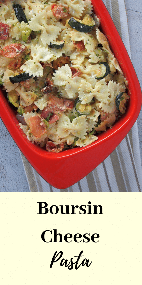 Quick Pasta for lunch? You will love these Boursin Cheese Pasta for an easy, cheesy meal filled with roasted vegetables and bacon. #cheesepasta #boursincheese #roastedveggiespasta | Woman Scribbles