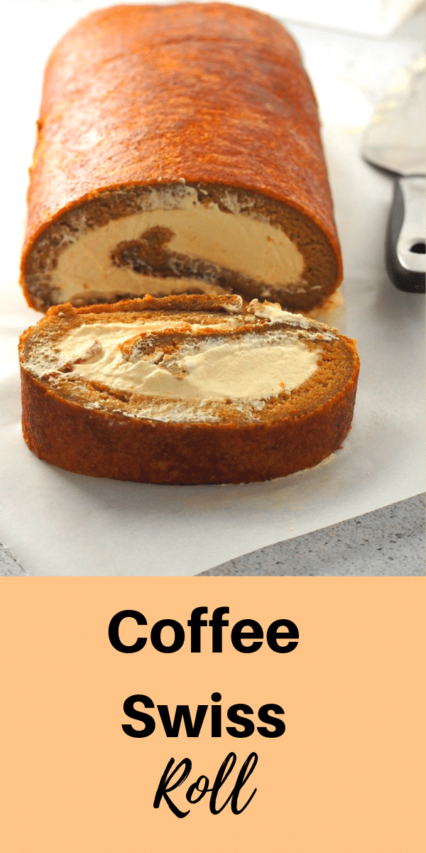 A simple yet elegant cake, coffee Swiss roll has a nice and creamy coffee whipped cream icing enclosed in a soft and light coffee flavored chiffon cake. Enjoy a slice of this cake to satisfy your coffee cravings. #coffeecake #swissroll #coffeeswissroll