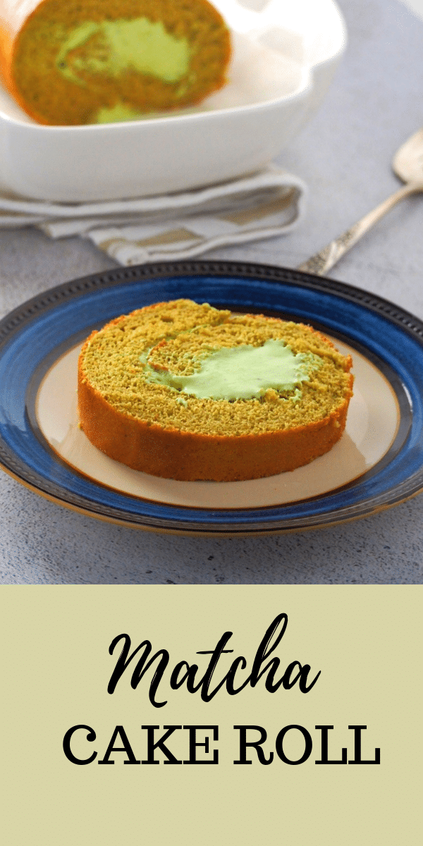 Soft matcha chiffon cake filled with matcha whipped  cream, this Matcha Roll Cake is every bit delicious. Light and creamy, this is a special treat for matcha lovers! #matcha #Matchacake #matchaswissroll