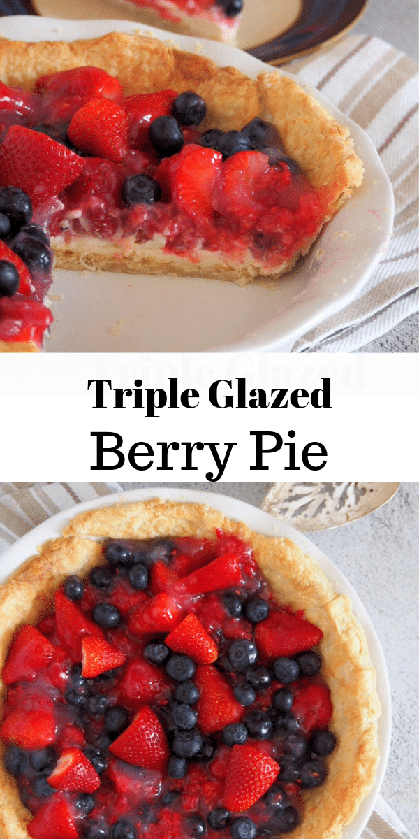 This Glazed Triple Berry Pie is a delightful mixture of juicy berries, sweetened with fruit glaze and nestled in a buttery crisp pie crust. #berries #berrypie #TripleberryPie