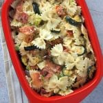 Boursin Cheese Pasta with Roasted Vegetables and Bacon