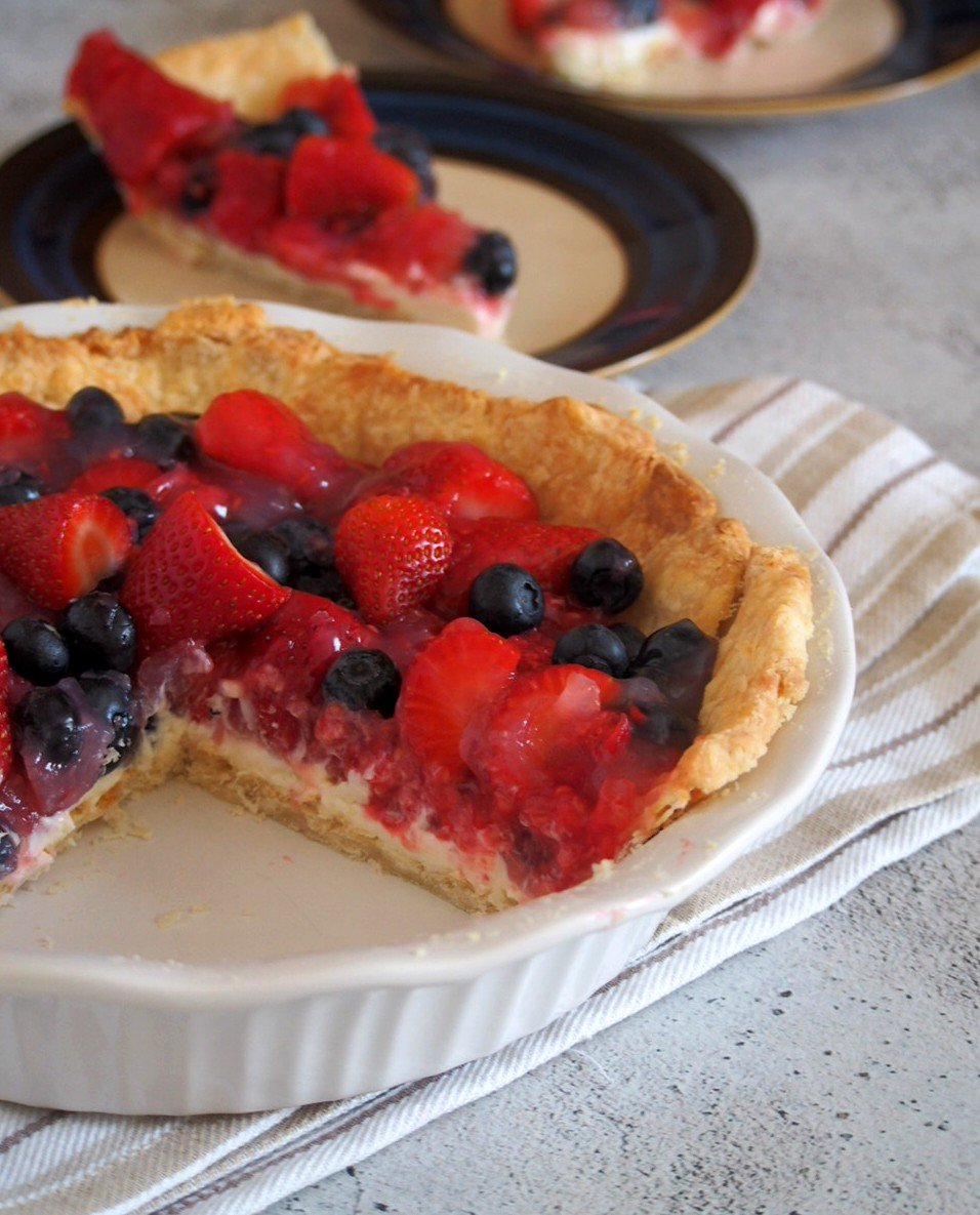 Showing the layer of the filling of Glazed Triple Berry Pie.