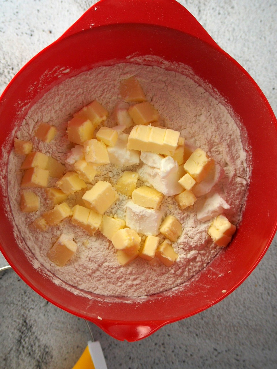 Making the pastry for peach mango pies.