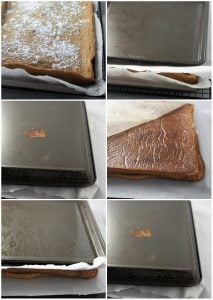 step by step process of rolling a coffee swiss roll.