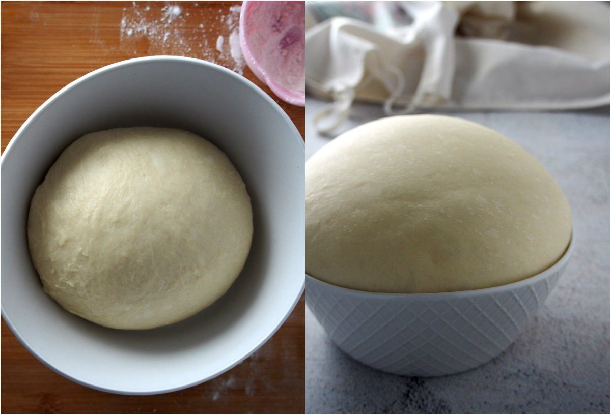 The dough before ad after proofing.