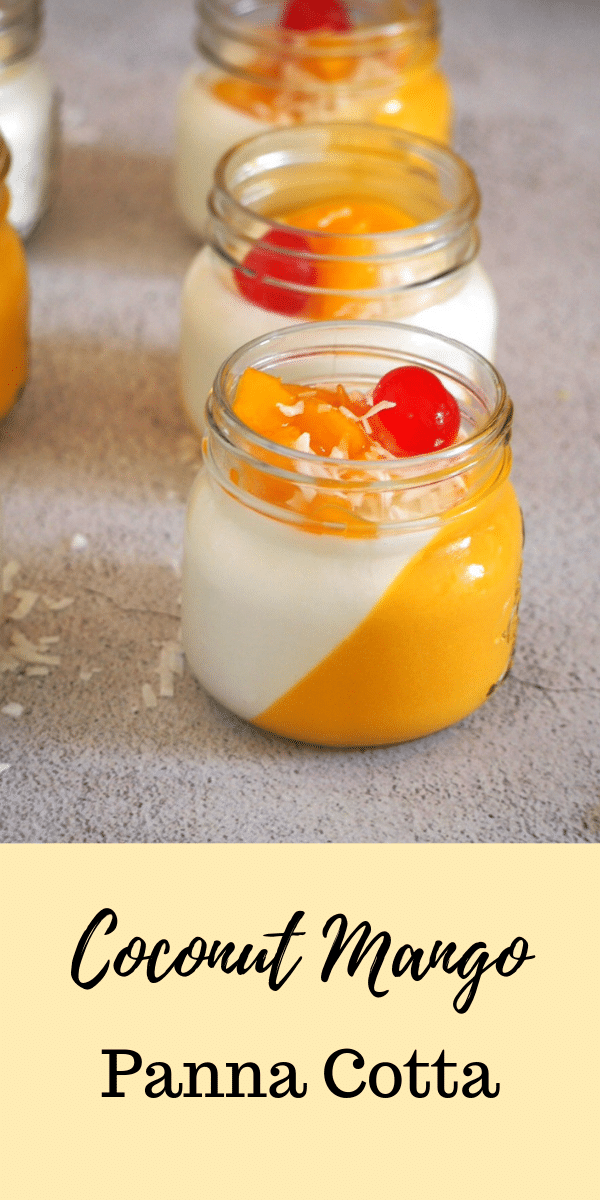 Creamy coconut and sweet mangoes side by side in this delicious Coconut Mango Panna Cotta. This dessert looks complicated but it is actually easy to make! #pannacotta #dessertsinjars #coconutmango