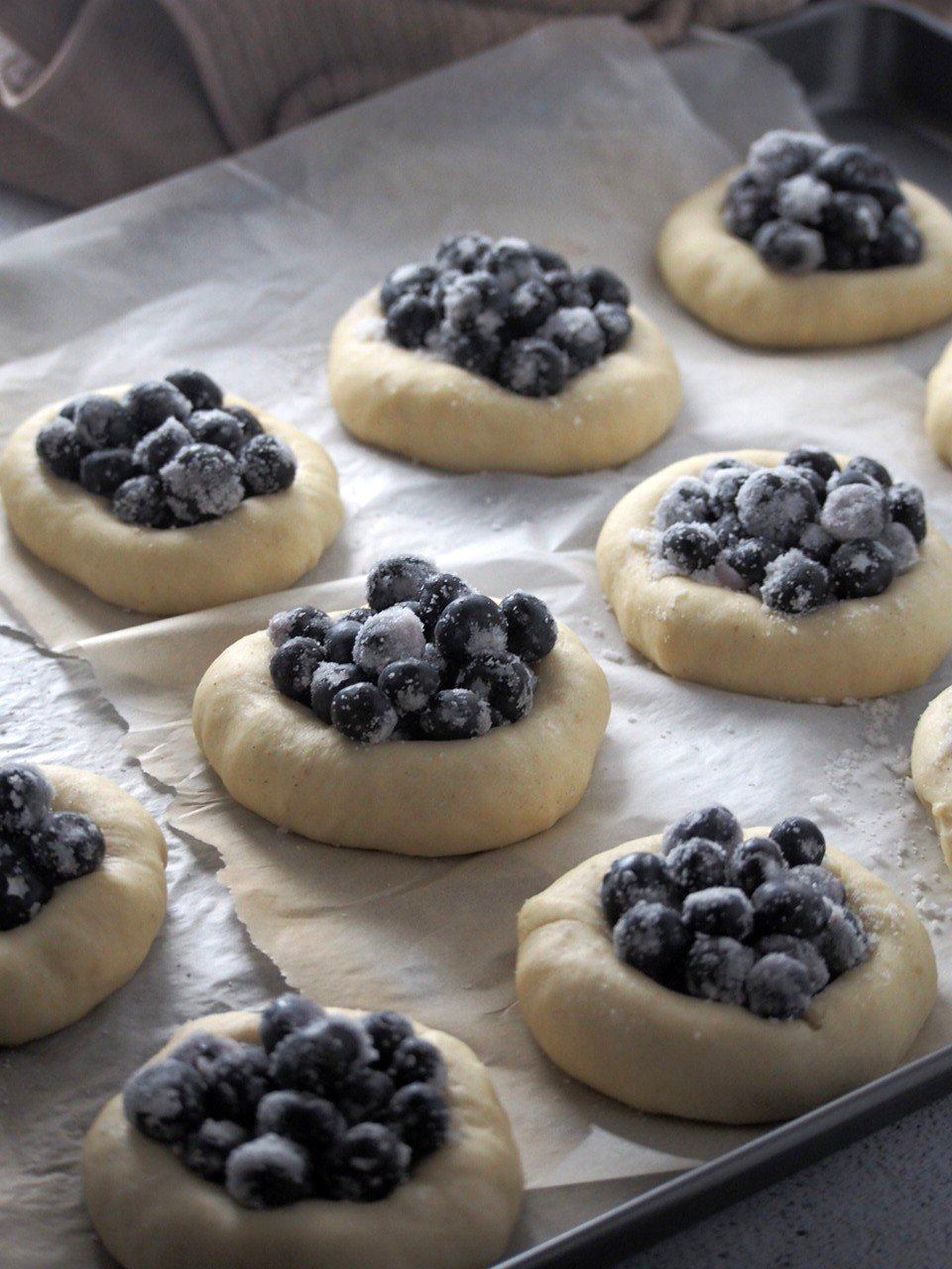 The Finnish Blueberry buns ready for the oven.