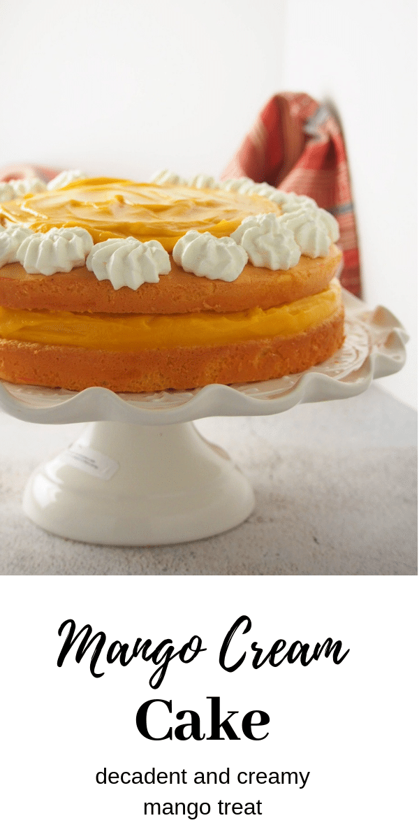 Luscious mango cream in between sponge layers, this Mango Cream Cake is an ultimately decadent mango treat. #mangocake #mangospongecake #mangodessert