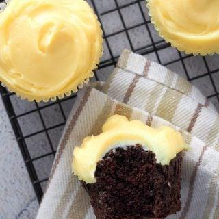 Choco yema cupcakes shot showing the inside crumbs of one cupcake.