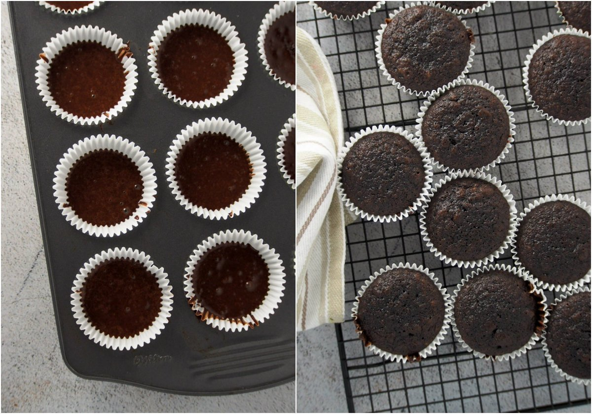 The chocolate cupcakes before and after baking.