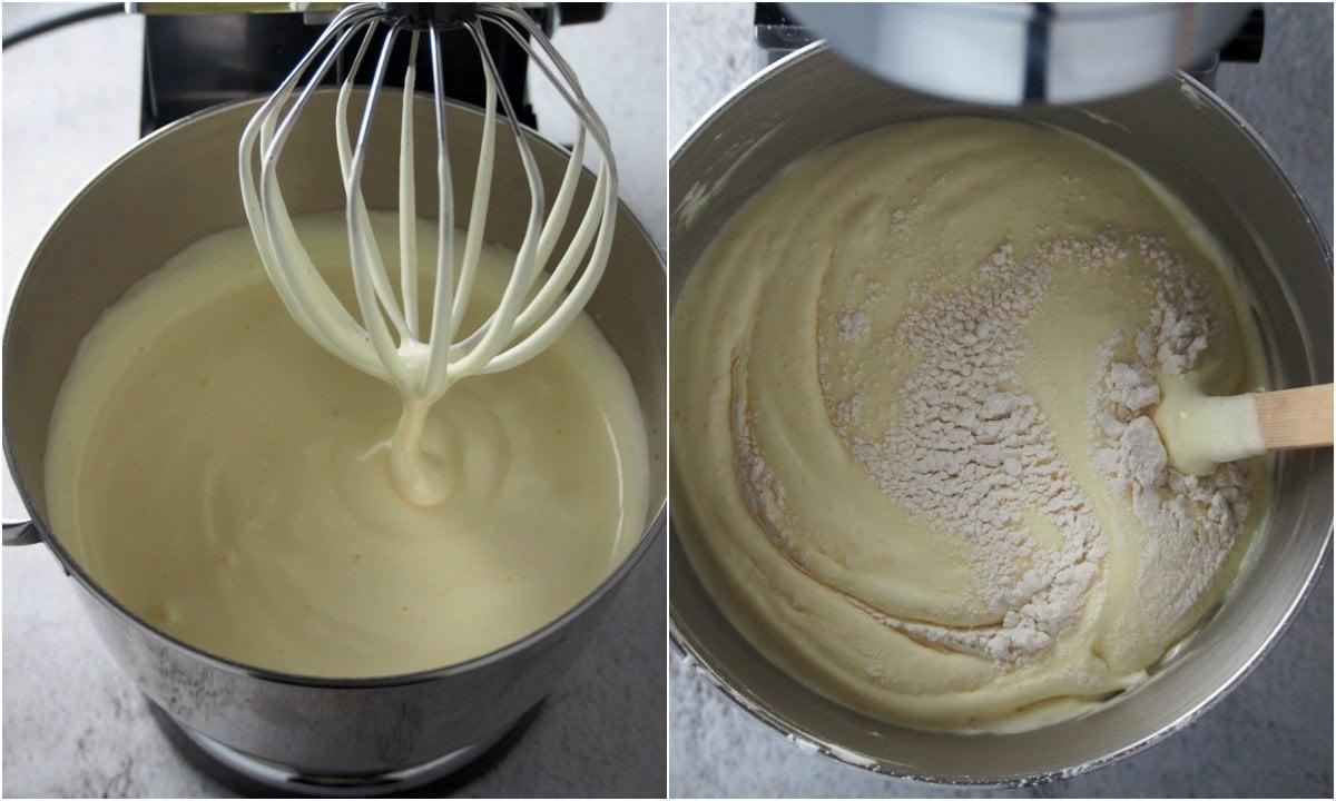 Mixing the mango cream cake batter.