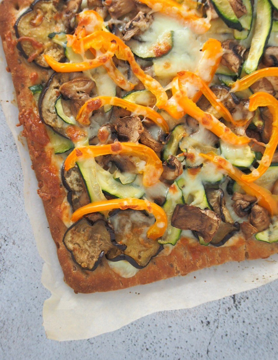 Top shot and close up of Roasted Veggies Flatbread pizza.