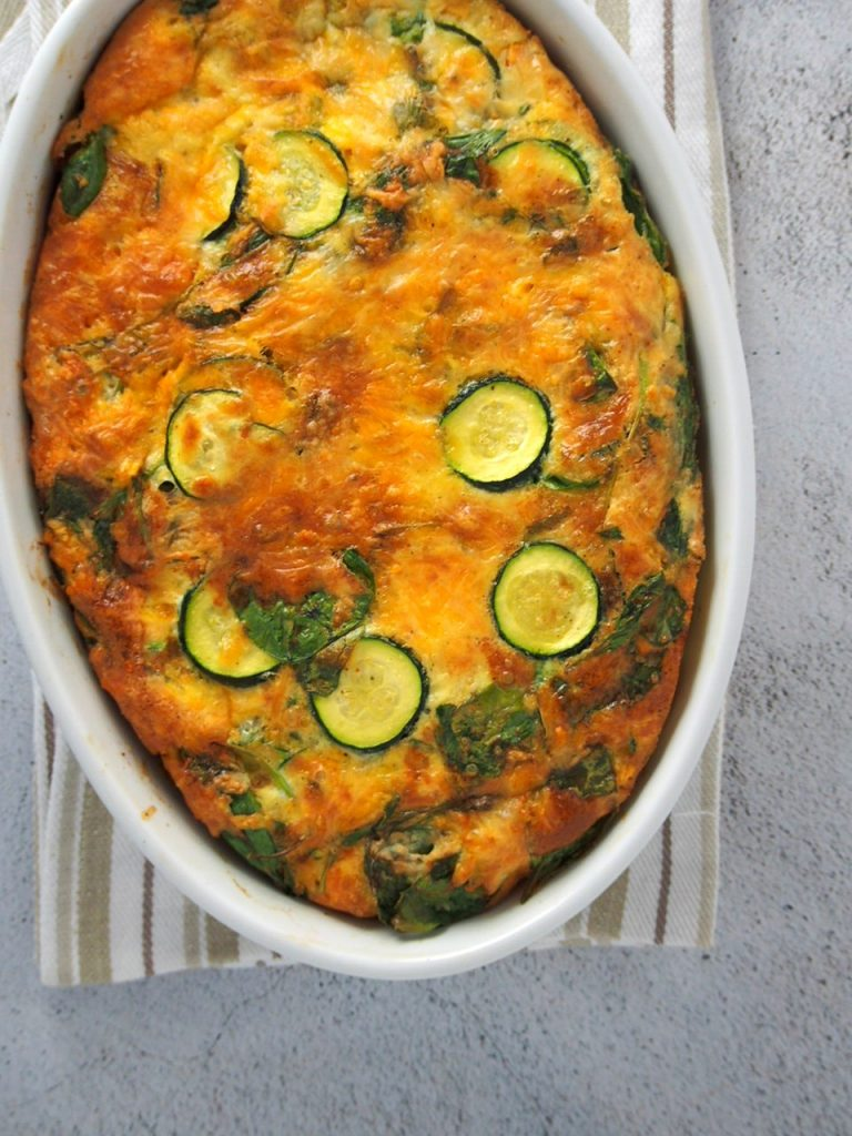 Vegetable Egg Breakfast Casserole on a glass dish.