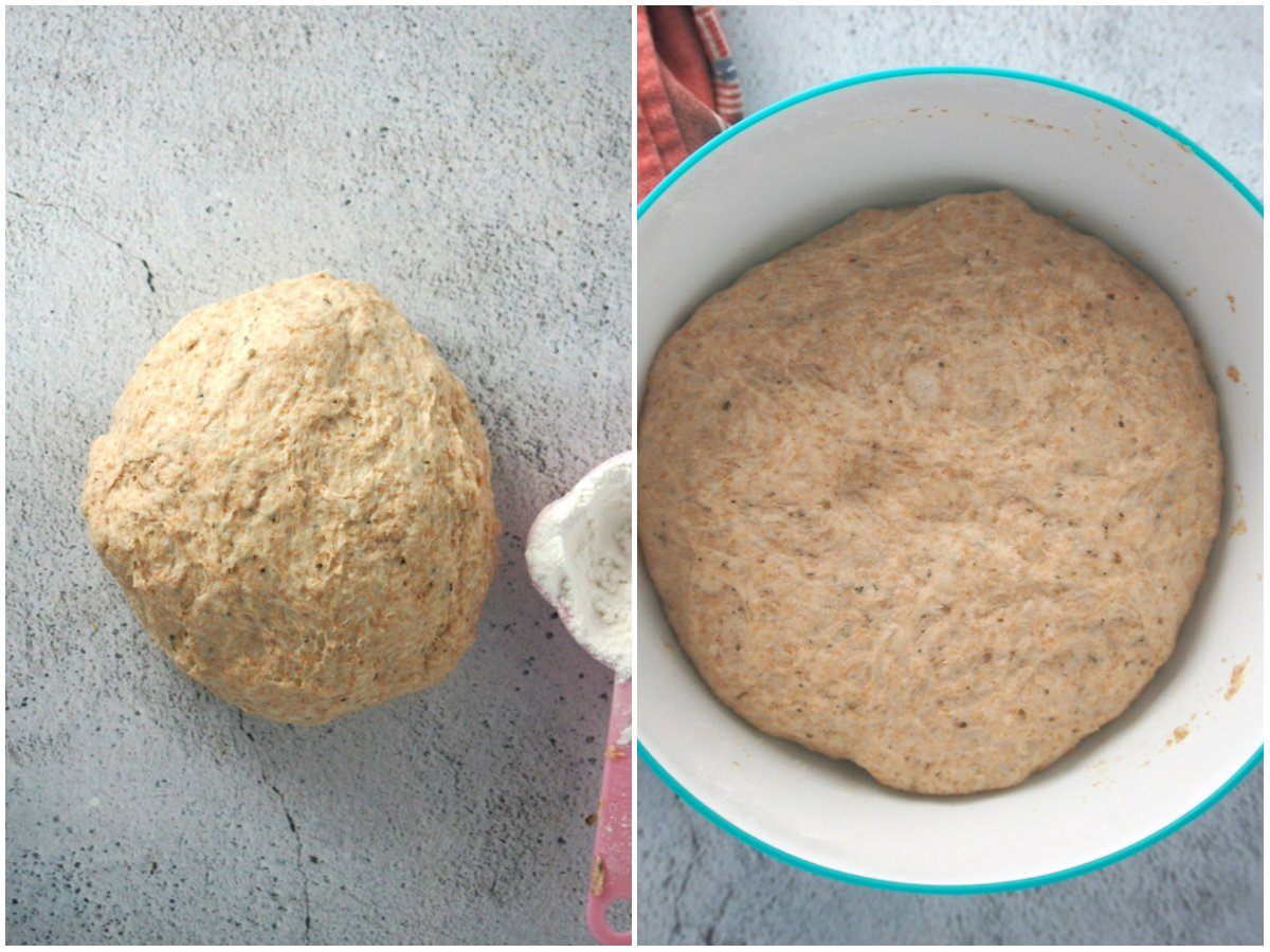 The dough for the whole wheat focaccia before and after rising.