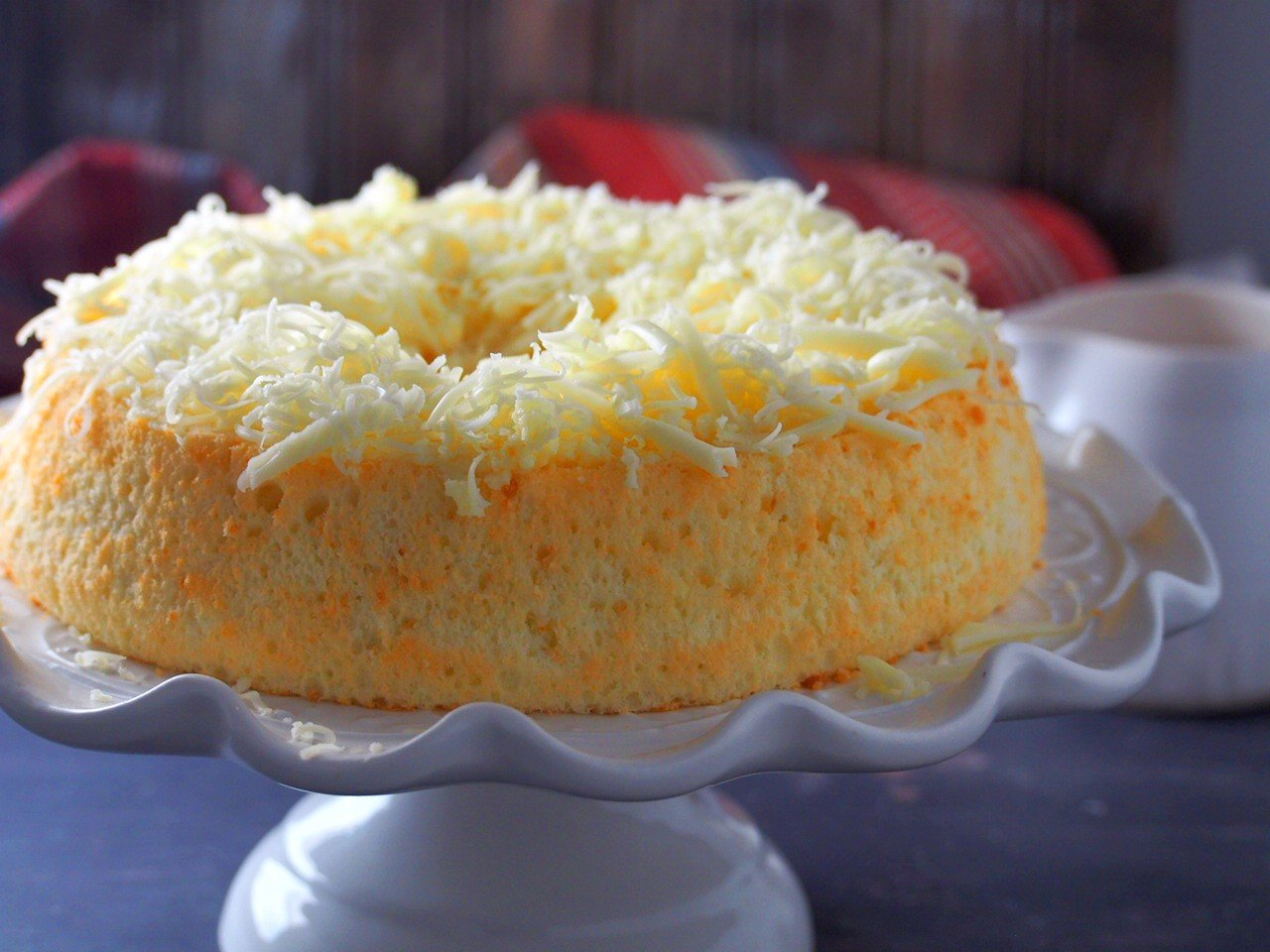 Cheese Chiffon Cake on a cake stand.
