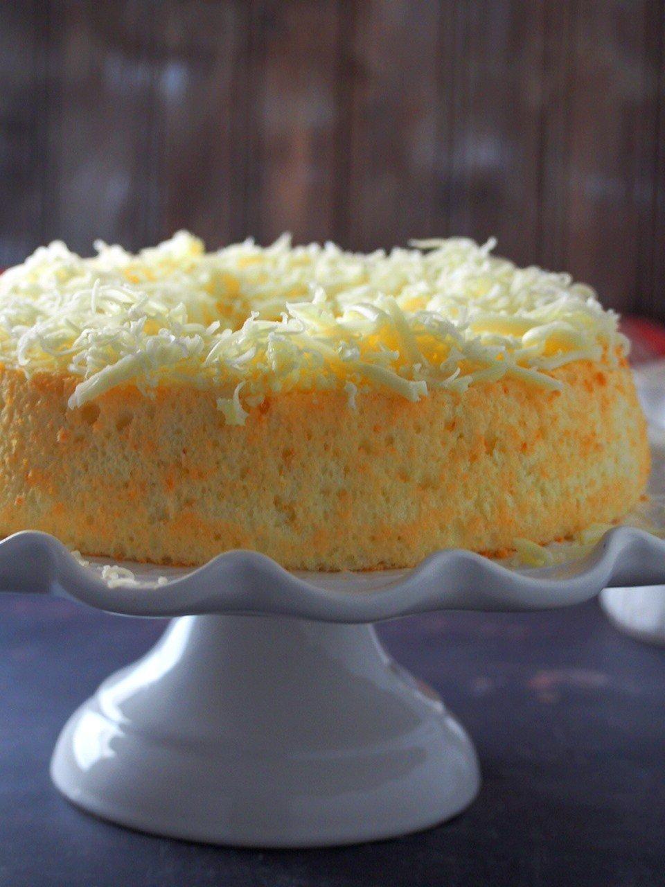 Cheese Chiffon cake on a cake stand.