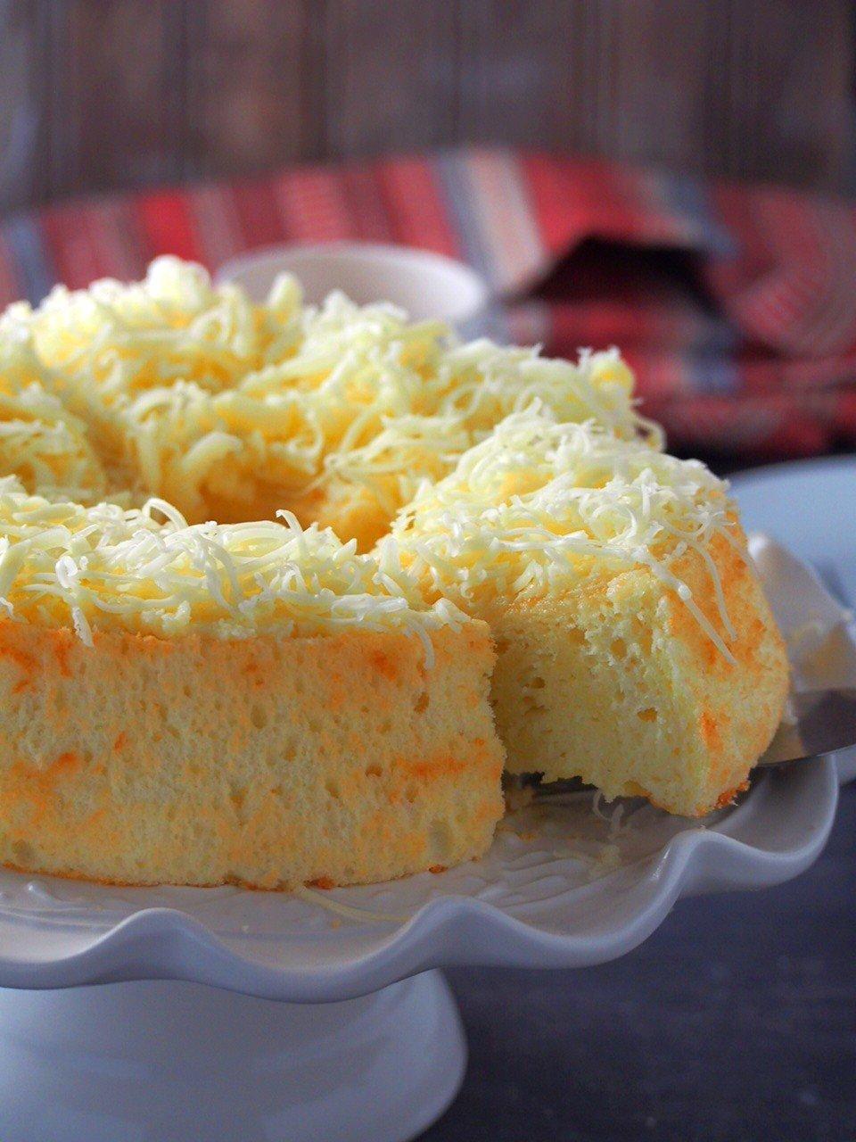 Cheese Chiffon Cake with one cut slice.
