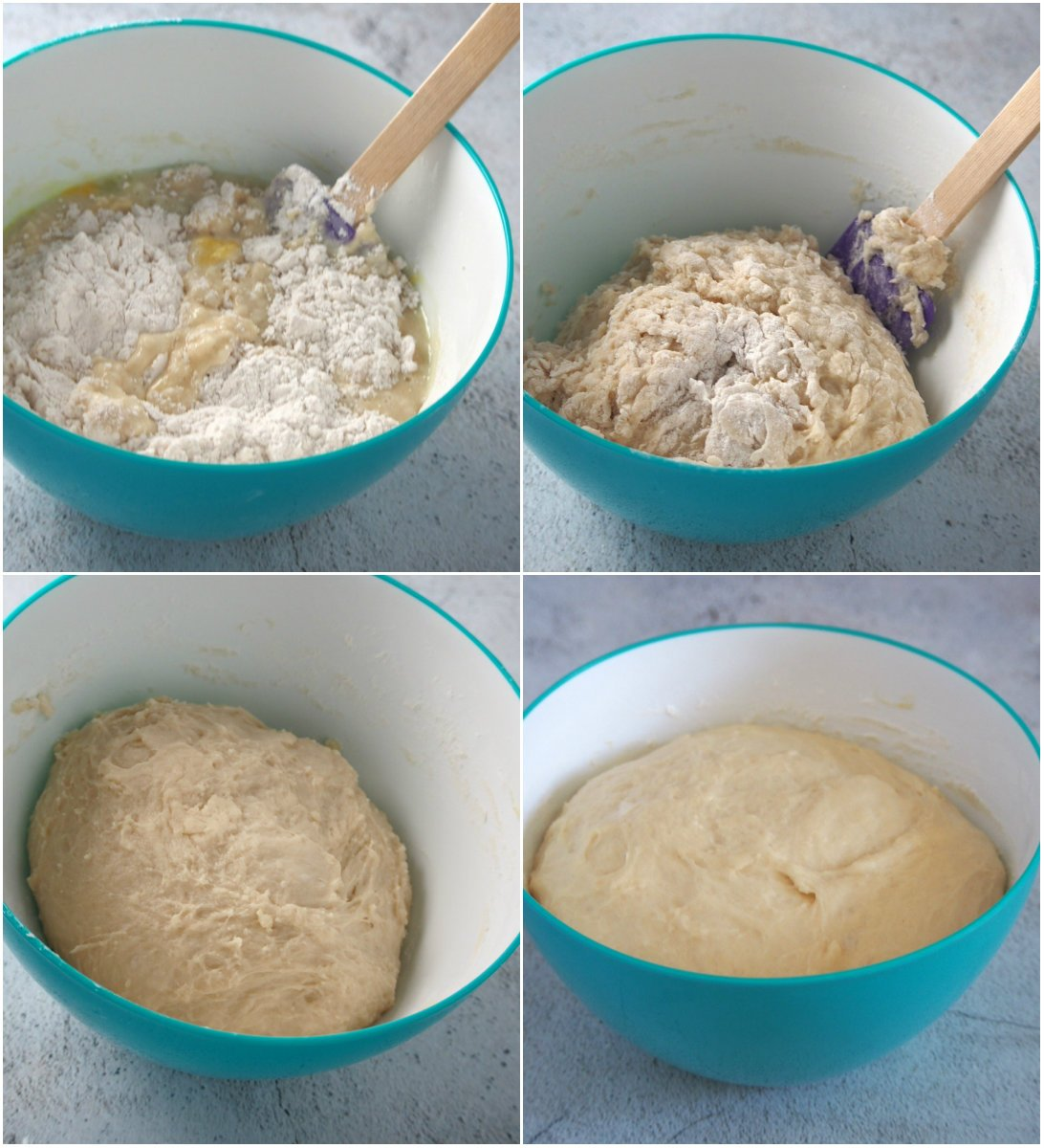 Collage showing the process of making the dough for pan de leche.