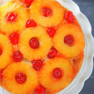 Top view shot of Pineapple Upside Down Cake.