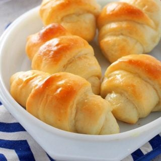 Salted Butter Rolls in a serving dish.