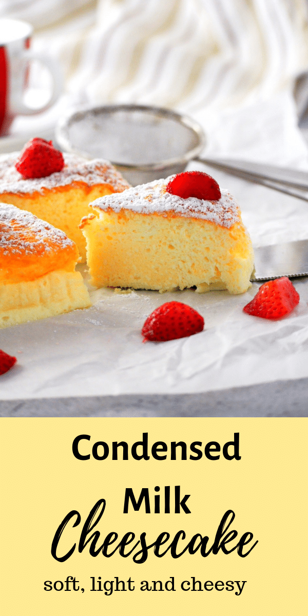 If you want a cheesecake that is light and creamy with just the right level of indulgence, try this condensed milk cheesecake and be delighted by its soft and delicate texture. #condensedmilk #condensedmilkcheesecake #japanesecheesecake