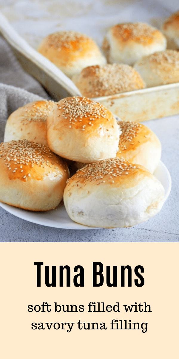 These Tuna Buns are perfect for quick lunches, snacks or picnic food. You will love the savory tuna filling nestled inside soft bread with sesame seeds as a tasty garnish. #tuna #savorybread #bread