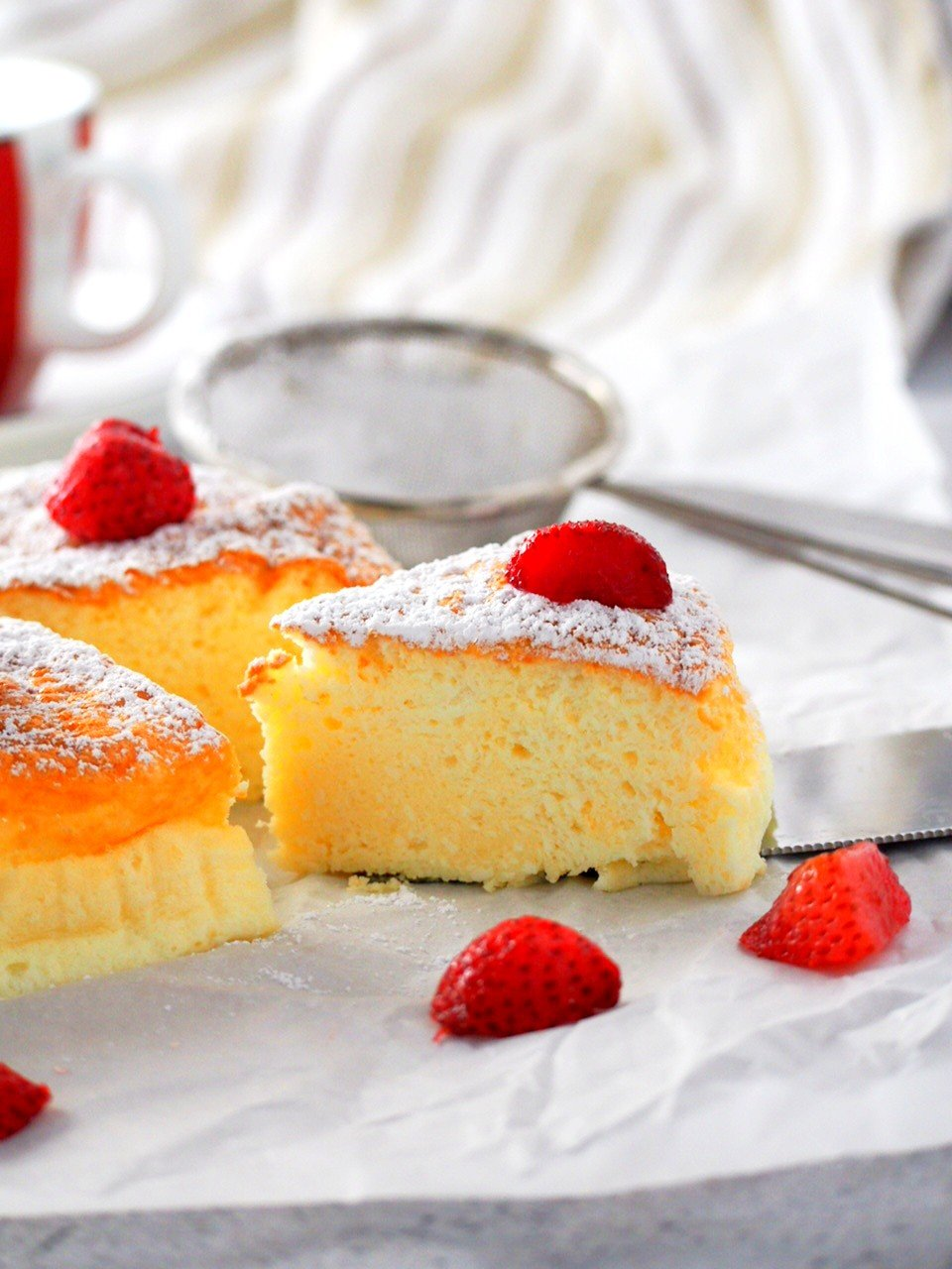 A slice of condensed milk cheesecake.