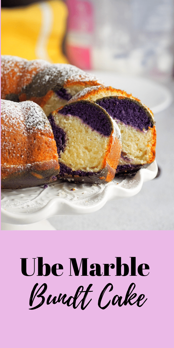 Do you like ube cake in bundt form? Look no further because this Ube Marble Bundt Cake gives you the perfect union of vanilla and ube in every slice. #ubecake #ubevanilla #bundtcake