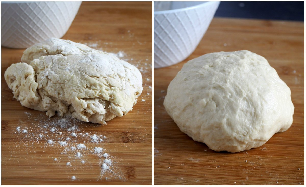 White chocolate buns dough before and after kneading.