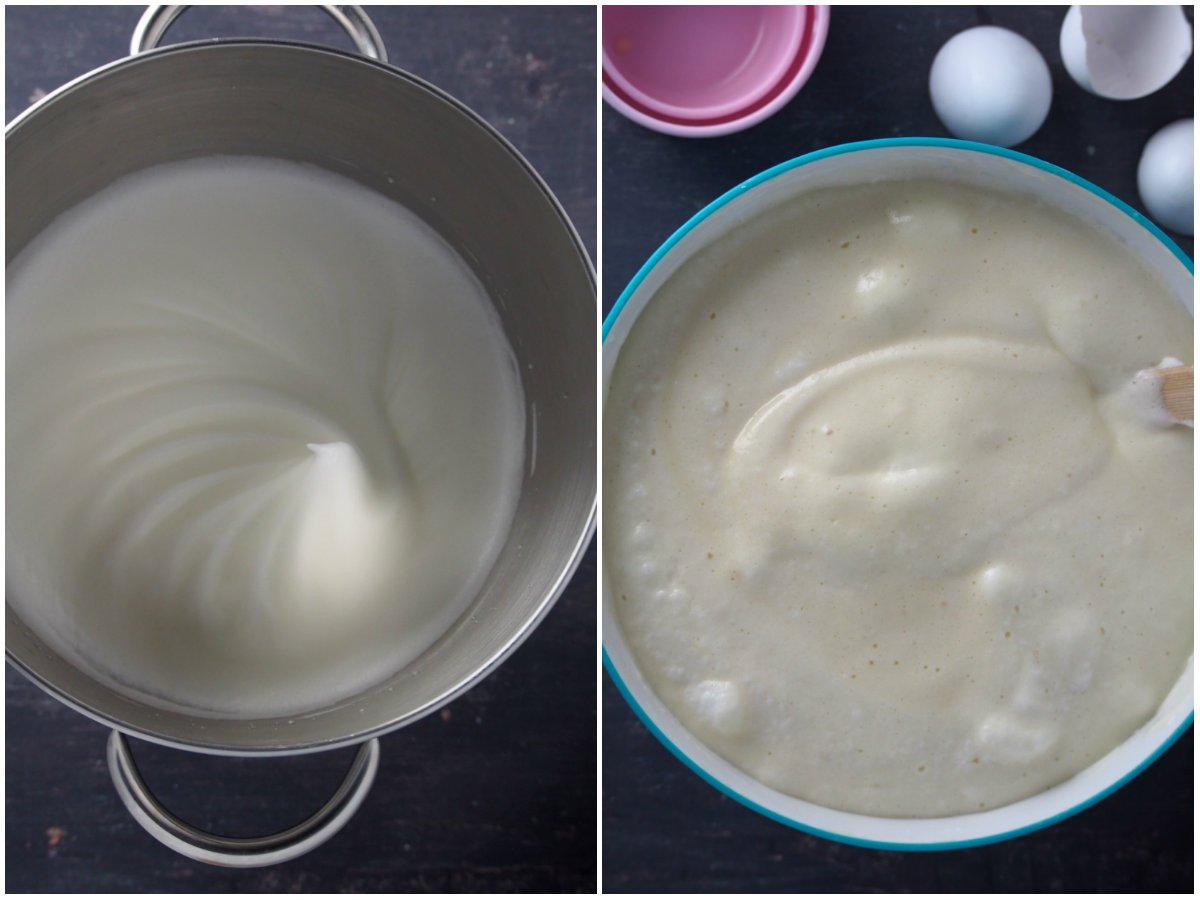 The whipped egg whites for the mamon and on the right, the finished mamon batter.