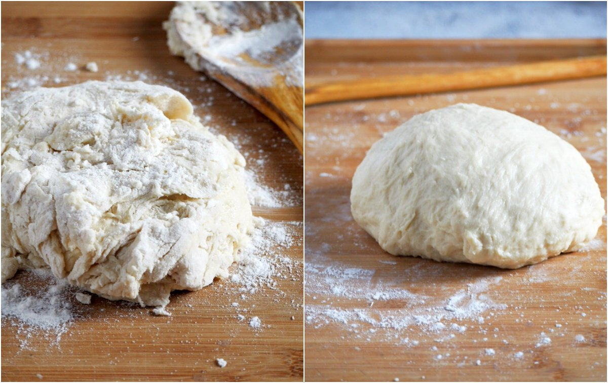 Bread dough collage, before and after kneading.