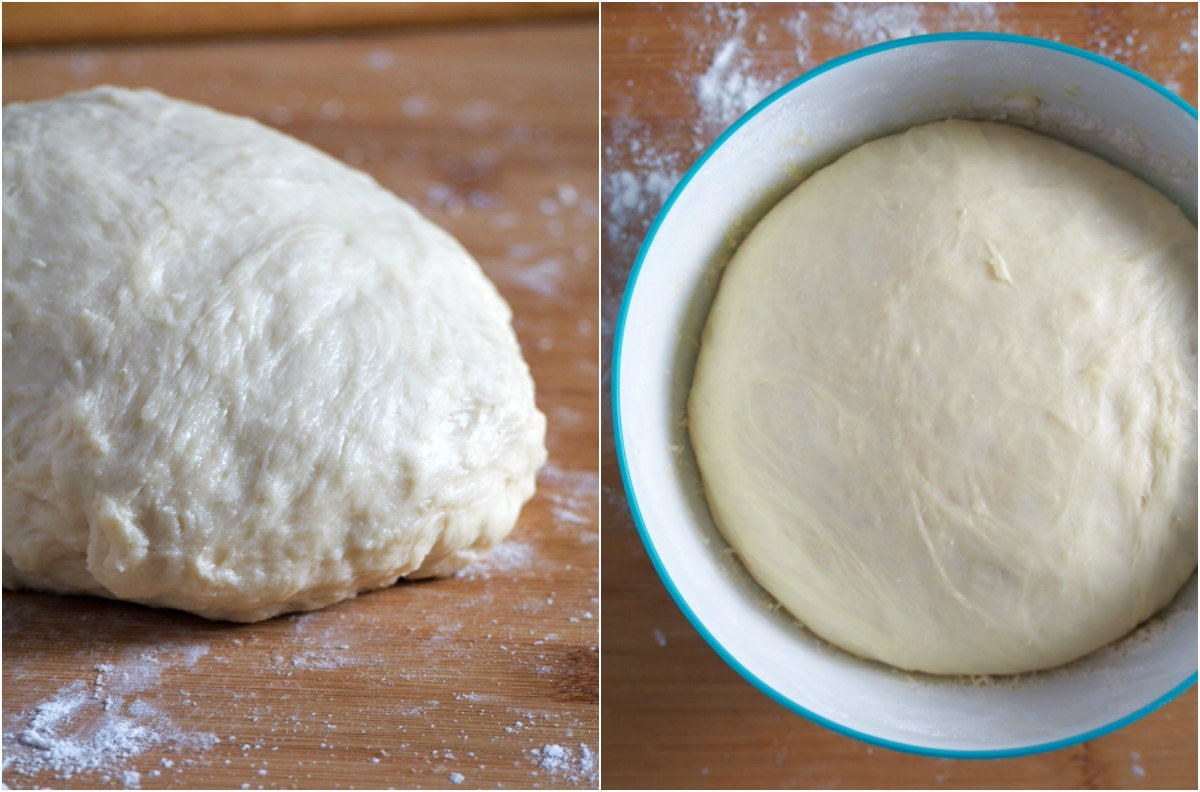 Bread dough after kneading and after the first rise.