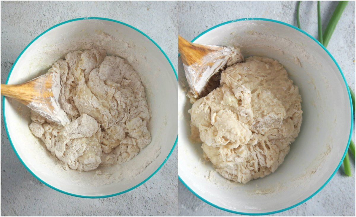 The dough for the cheese loaf bread gathering in the center upon mixing.