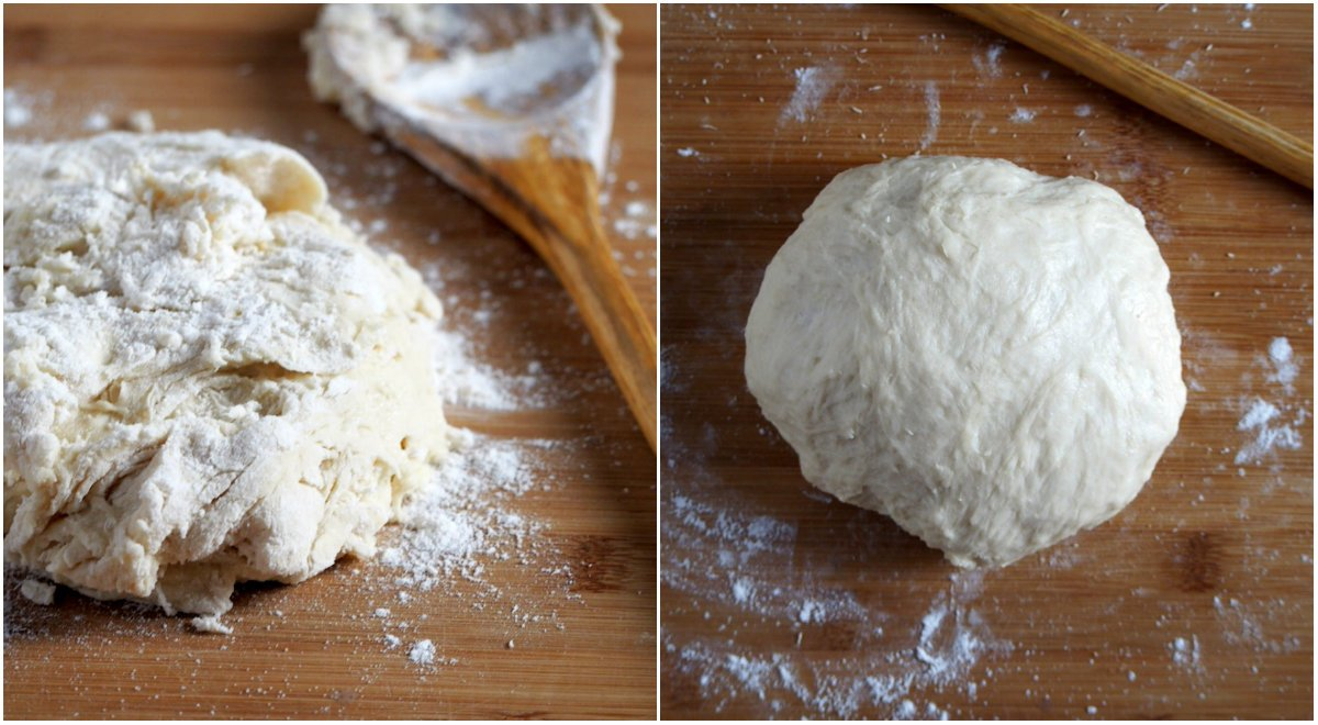 The dough for the cheese loaf before and after kneading.