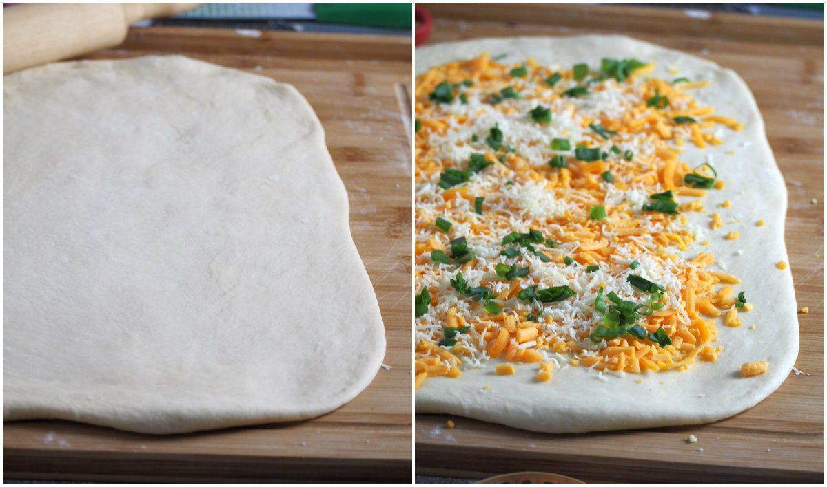 The cheese loaf dough rolled into a rectangle and filled with the cheese filling.