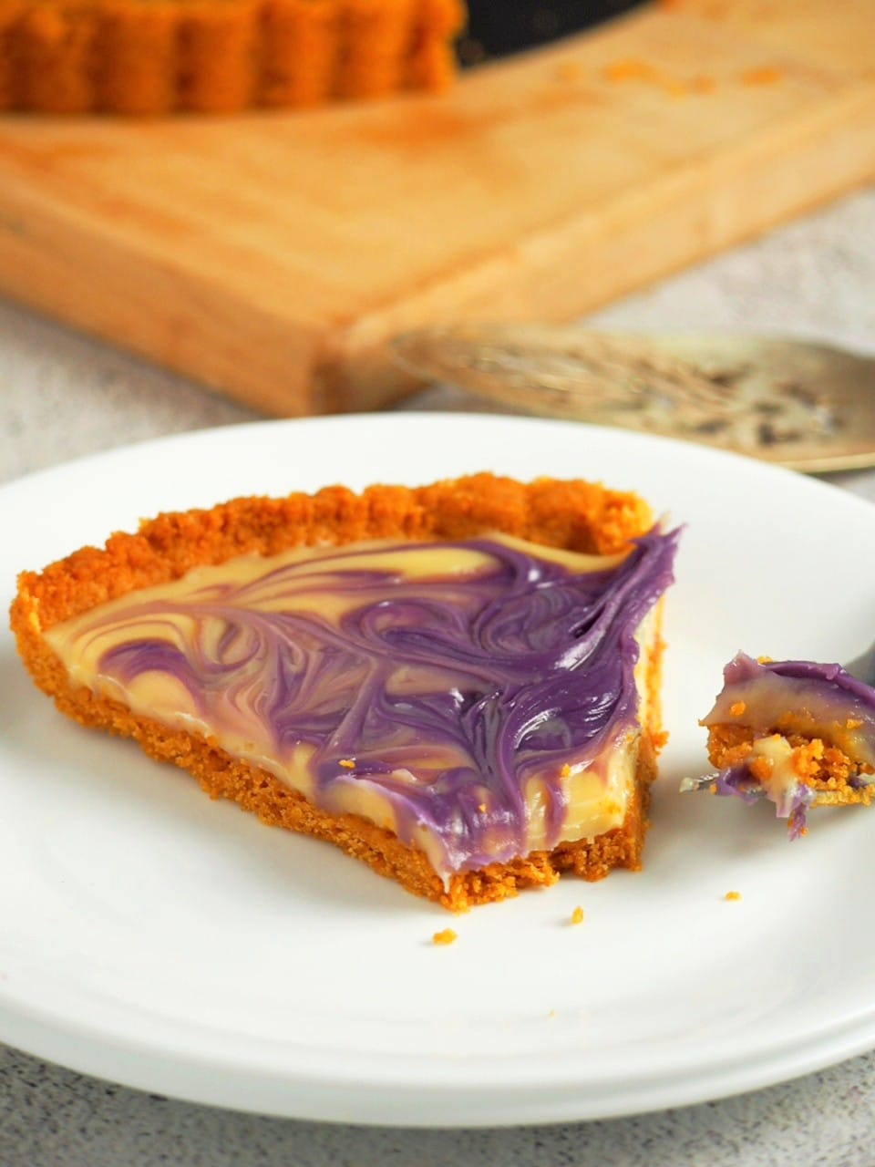 The served ube custard pie.