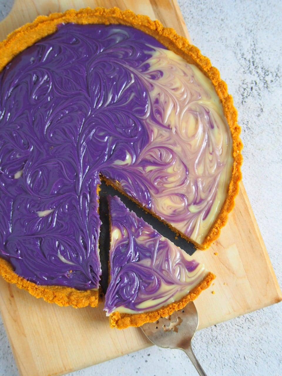 Top angle shot of the ube custard pie.