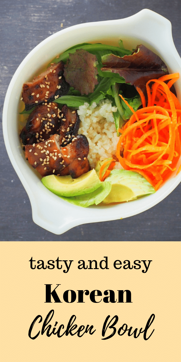 You will love this simple Korean Chicken Bowls complete with caramelized chicken, fresh vegetables and rice with a sweet savory drizzle sauce to top it all. #koreanfood #chickenbowls #asianchicken